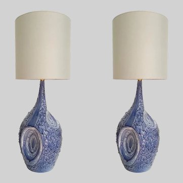 Signed By Artist Large Blue & White Ceramic Italian Table Lamps, 1980s Mediterranean Style - a Pair