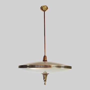 Mid Century Modern Chandelier in Etched Glass, Bronze & Brass Italy 1950s