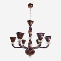 Large Mid-Century Modern, Bronze Mirrored Murano Glass Six Lights Chandelier 1970s