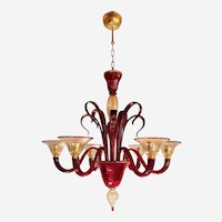 Large Classic Style Red & Gold Murano Chandelier, Six Lights, 1960s