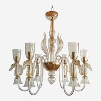 Mid Century Classic Clear & Gold Murano Chandelier With Horses Decor, Italy 1960s