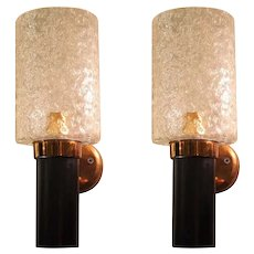 Small Mid-Century Modern Brass, Glass & Black Pair of Sconces, Maison Arlus, France 1950