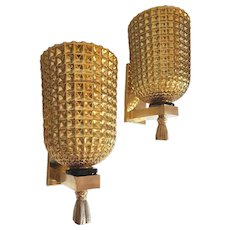 Gold Mirrored Murano Glass & Brass, Mid-Century Modern pair of Sconces, Italy 1960s