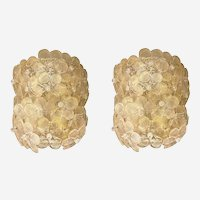 Mid-Century Modern Neoclassical Murano Glass Flower Sconces, by Barovier Italy 1980s