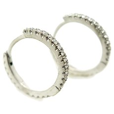 18K White Gold and Diamond Hoop Wire Earrings