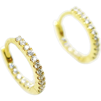 18K Yellow Gold and Diamond Hoop Wire Earrings
