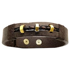 3 Solid 18K Yellow Gold Octagon Rings 100% Natural Leather Bracelet