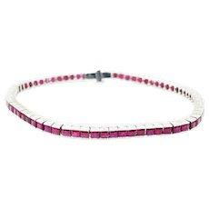 18K White Gold Ruby Tennis Bracelet
