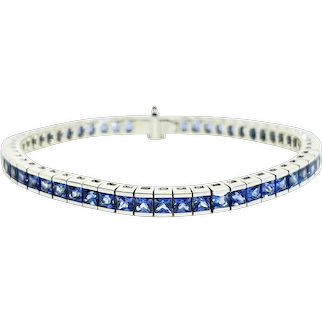 Platinum Sri Lankan French Cut Sapphire Tennis Bracelet