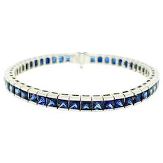 Platinum Sri Lankan Sapphire Tennis Bracelet