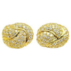 18K Yellow Gold and Diamond Earrings