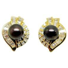 Yellow Gold Diamond Pearl Earrings