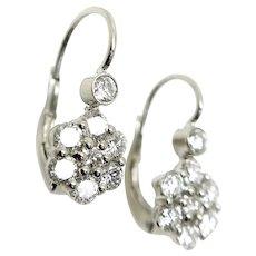 14K White Gold and Diamond Flower Earrings