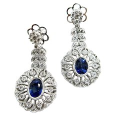 18K Gold Sapphire and Diamond Earrings