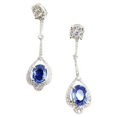 18K white gold Convertible Stud and Earring with Diamond and Sapphire