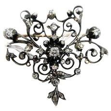 Vintage Diamond Gold Pin