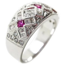 18k White Gold Diamond and Ruby Wide Ring