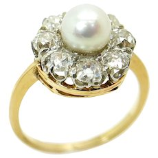 Vintage 14K Yellow Gold and Platinum Ring with Diamonds and Pearl