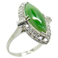 Vintage Platinum Diamond, and Jade Jadeite Ring