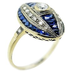 Vintage Reproduction 18K Yellow Gold, Sapphire, and Diamond Ring