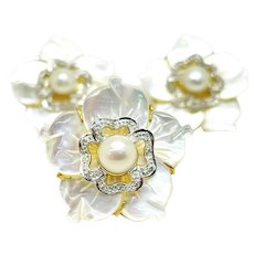 14K Yellow Gold, Diamond, Pearl, and Mother of Pearl Petals (Ring & Clip On Earrings)