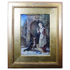 Antique Victorian Oil Painting 'Rivals' by Lady Louisa Charteris 1879 Gallery Label