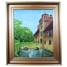 Antique Victorian Oil Painting Ightham Mote Manor House Kent Signed Dated 1882