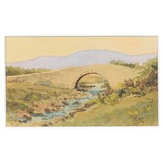 Antique Irish Art Watercolour Painting 'Poisoned Glen' Bridge Muckish Donegal c1900