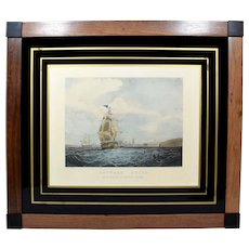 Rare Antique Nautical Engraving/Print Outward Bound Papprill Glass Mount c1850s