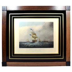 Rare Antique Nautical Engraving/Print Homeward Bound Papprill Glass Mount c1850s