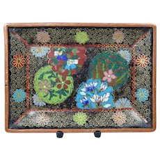 Antique Japanese Cloisonne Card Tray Meiji Period