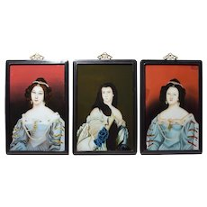 Antique Chinese Reverse Glass Painting Portraits of 3 Ladies c1870