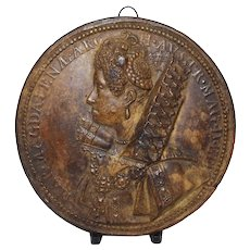 Antique 1613 Guillaume Dupre Terracotta Medallion of Magdelena of Austria