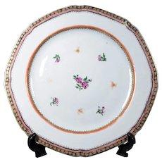 Antique Chinese Qianlong Porcelain Dinner Plate 18thC