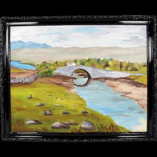 Original Irish Art Oil Painting Lackagh Bridge Co Donegal Signed c1960s