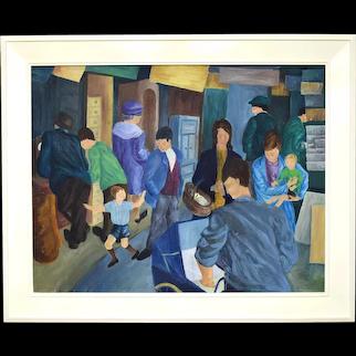 Fabulous Irish Naive Modern Art Painting 'Haberdashers Falls Road March 68'