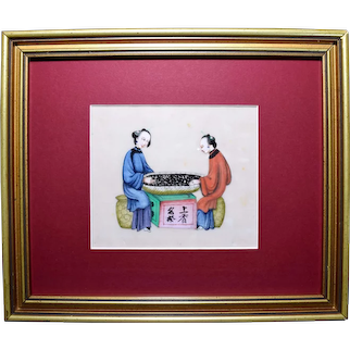 Antique Chinese Rice Paper Pith Painting of Tea Making 19thC