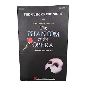 """Vintage Choral Sheet Music:  """"The Music of the Night"""" from Andrew Lloyd Webber's The Phantom of the Opera.  Hal Leonard Publishing Co. 1989.  SAB"""