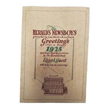 """Vintage Rare Promotional Booklet: """"The Herald's Newsboys present to your their cheeriest Greetings for a Happy 1925"""" 