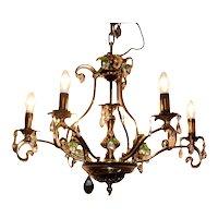 Spectacular patina brass pendant chandelier