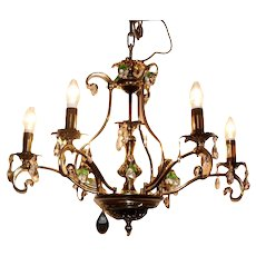 Spectacular patina brass pendant chandelier