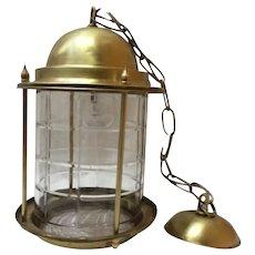 Golden brass renaissance lantern pendant