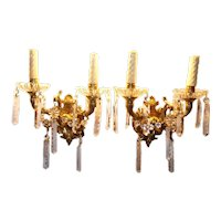 Pair of Electrified Cut Glass and Bronze Wall Sconces