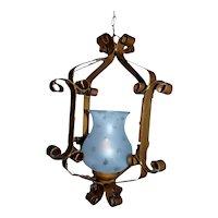 Vintage wrought iron hanging lantern
