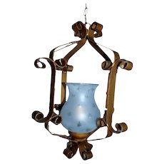 Vintage wrought iron hanging lantern