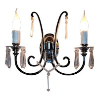 Pair of chrome wall sconces