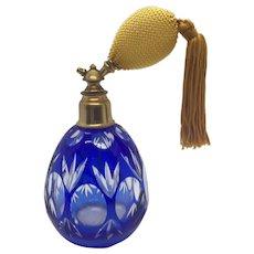 Cobalt Cut to Clear Bohemian Perfume Bottle Atomizer