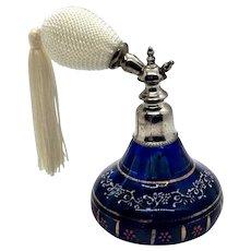 1900s Blue Enameled Perfume Bottle Atomizer