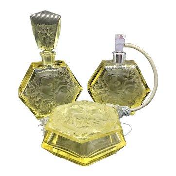 Czech Rudolf Hlousek Citrine Perfume Atomizer Dresser Set