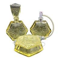 Vintage Czech Rudolf Hlousek Citrine Perfume Atomizer Dresser Set